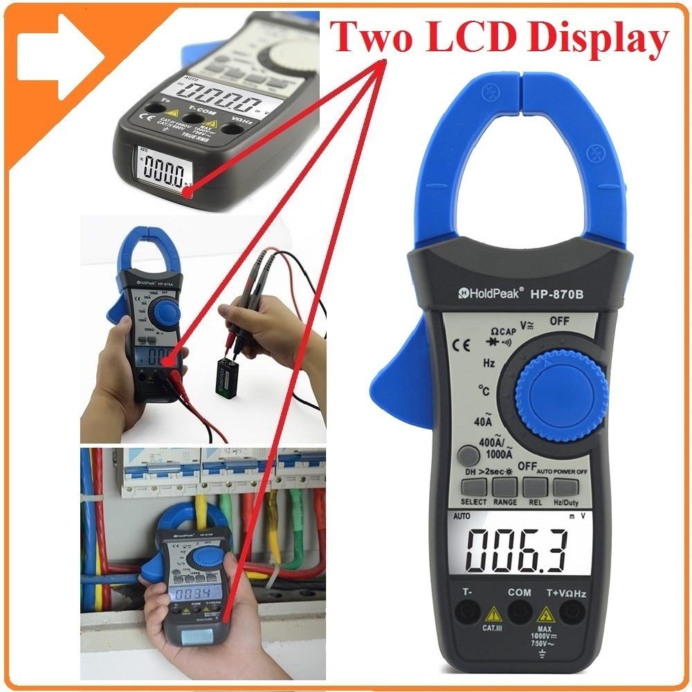 HoldPeak HP-870B Auto Range DC AC Digital Clamp Meter Multimeter Pinza Amperimetrica Amperimetro Backlight Auto Power Off holdpeak hp 760g 1000volt