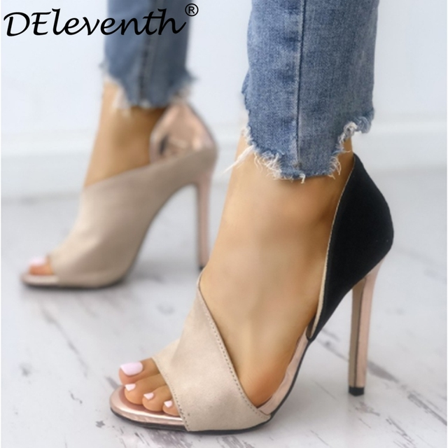 c040ac053b4 DEleventh New Design Fashion Colorblock Peep Toe High-heeled Pumps Stiletto  High Heels Sandals Nude Mixed Colors Woman Shoes Hot