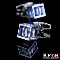 KFLK Jewelry shirt cufflinks mens Brand Blue Crystal Cuff link Wholesale Button High Quality Luxury Wedding Groom Free Shipping