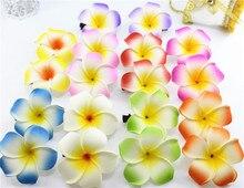 20 mixed color Foam Hawaiian Plumeria flower Frangipani Flower bridal hair clip 4.5cm f-8-m