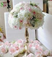 SPR nuevo centro de mesa de flores bola rosa claro con Babysbreath artificial rose flor de la boda telón de fondo decoración de acuerdo