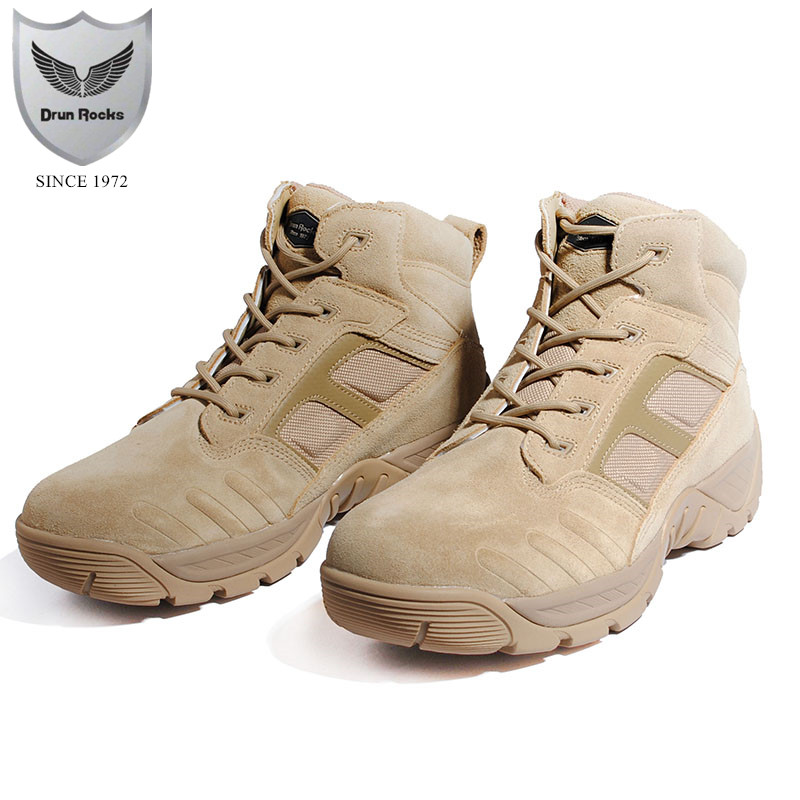 86b0a4891 Drunrocks Botas de Deserto Botas Militares dos homens de Couro de Vaca  Genuína Homem Calçado Deserto
