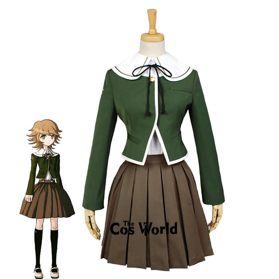 Danganronpa Fujisaki Chihiro école uniforme manteau chemise robe tenue Anime Cosplay Costumes