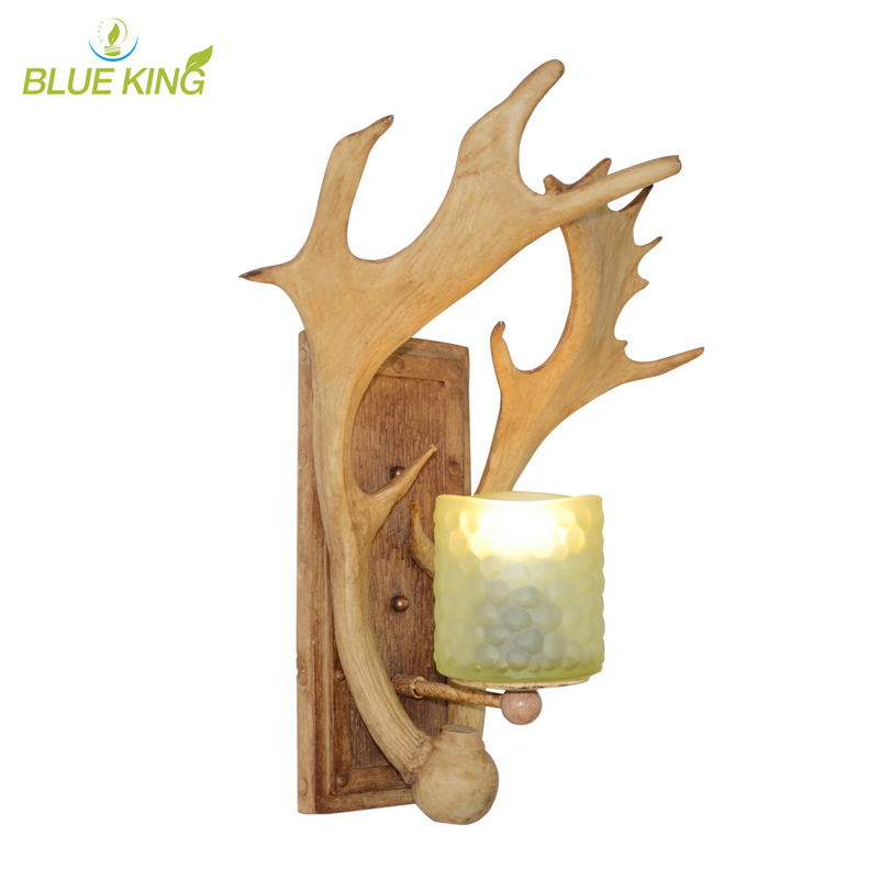 American Village Decoration Stairs Antler Wall Lamp Nordic Personality Bedside Aisle Lighting with glass lamp shade