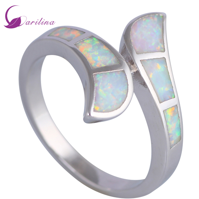 Fashion Jewelry Womens Rings White Fire Opal 925 Stamp Silver Engagement Ring Size 6 7 75 8 9 R495
