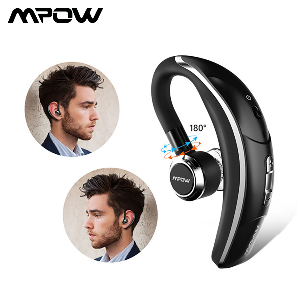 Mpow BH028 Trådlös Singel Car Headphone Portabel Handsfree Bluetooth 180 Rotations örhängen hörlurar med mikrofon för iOS Android
