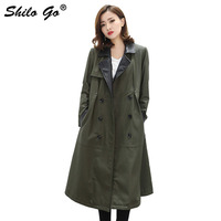 England Leather Trench Womens Winter Army Green Rivet sheepskin genuine Leather long coat Causal Trun Down double breasted coat