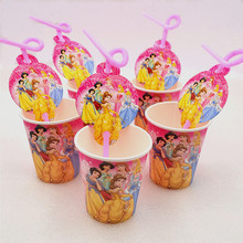 20pcs/set Cartoon Princess Straw Cup Theme Happy Party Decoration Disposable Drinking Straws Girls Favors Supplies