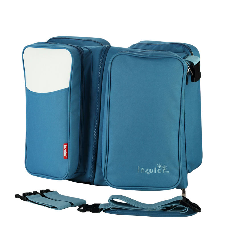insular Multifunctional Foldable Large Maternity Diaper Bag For Travel Mummy 2 in 1 Bags For Baby Sleeping Bed Blue baby cart accessories diaper bag baby travel bag 2 in 1 mummy nappys bags multifunctional changing for stroller fold baby bed