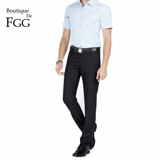 cc730fe6a US $16.3 20% OFF|Size 29 40 Wrinkle Free Men Office Work Wear Black Suit  Trousers Pants Slim Fit Casual Business Pant Gentleman Formal Prom Pants-in  ...