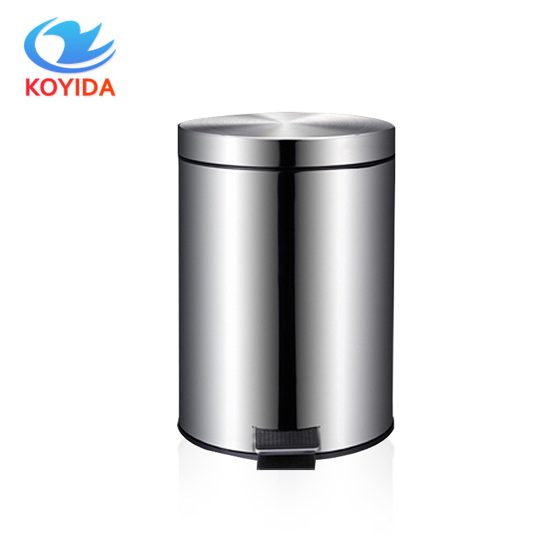 koyida 5l7l garbage pail stainless steel round step trash can foot pedal dustbin garbage bin with lid for kitchen silver