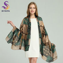 [BYSIFA] Brand Blue Green Silk Scarf Shawl Female Accessories Spring Autumn Floral Pattern 100% Silk Women Long Scarves Wraps