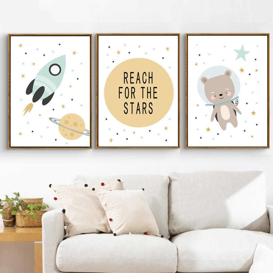 Bear Rocket Planet Reach Quotes Wall Art Canvas Painting Nordic Posters Cartoon Wall Pictures Baby Kids Room Decor(No Frame)