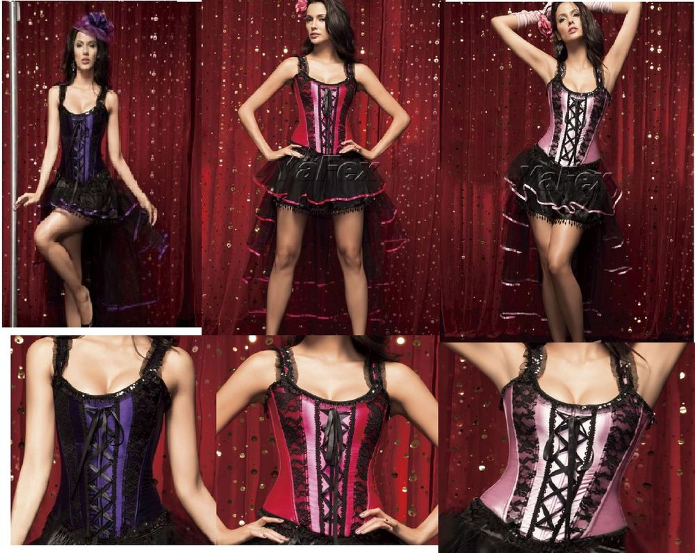 free pp instyles Sexy Burlesque Pink Black Boned Corset & Skirt Fancy Dress Costume walsonstyles