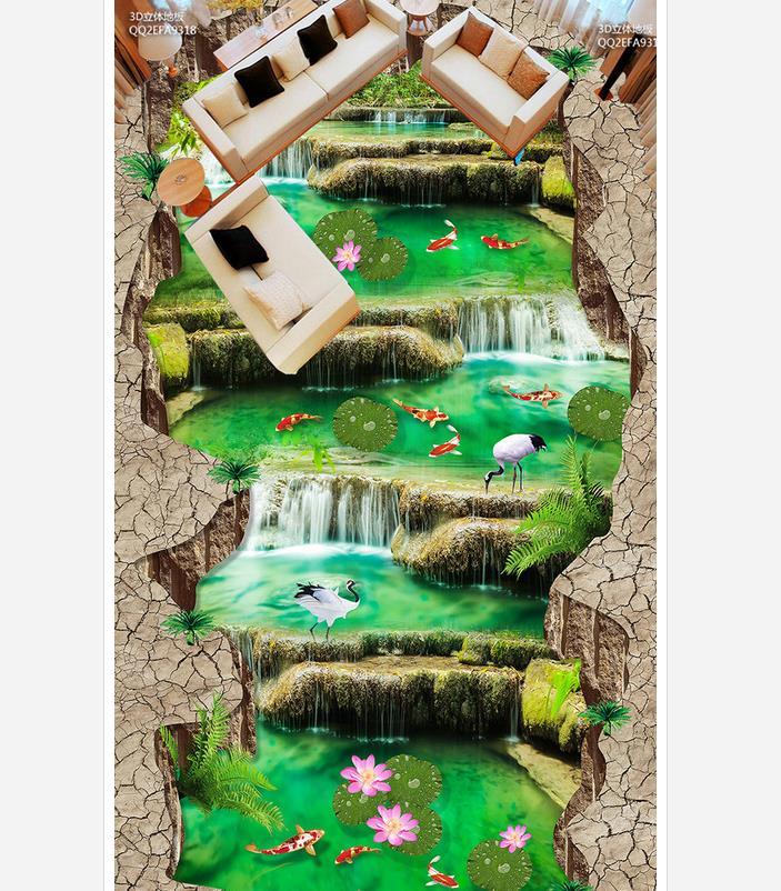 3d pvc wallpaper Water waterfall outdoor 3D stereoscopic floor 3d wallpaper pvc bathroom waterproof wallpaper