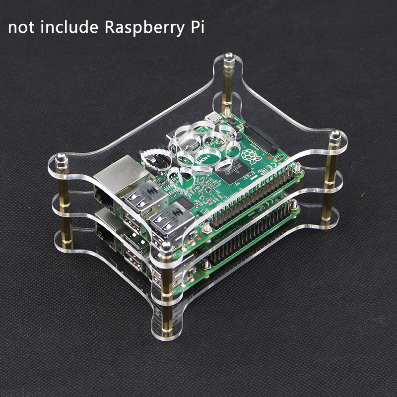 Computer Clear Transparent Acrylic Case Shell Box Enclosure For Raspberry Pi 2 3