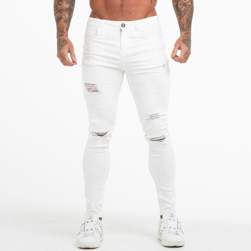 GINGTTO White   Jeans   Men High Waist Ripped Skinny   Jeans   Tight   Jeans   Male Super Spray on   Jeans   Pants Dropshipping Big Size 36 zm55