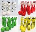 Animal de madera lindo bowling toy bowling balls juego del bebé intelectual toys niños 4 colores disponibles