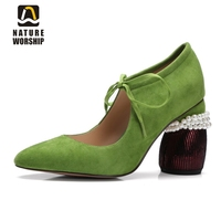 Mary janes shoes woman genuine leather strange style women heels pumps pointed toe shoes String Bead spring autumn women shoes