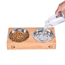 pet feeder,dual-use Food Water Feeder,Bamboo and stainless steel,suitable for cats,dogs,rabbits,large capacity,keep food fresh