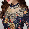 2016 Blusas de Renda Chiffon camisa feminina das Mulheres da longo-luva Floral Oco Lace Tops Magro Elegante Frisado Gaze Rendas camisas XXXL