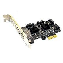 Adaptador/conversor pcie riser, 4 portas sata 6gbps para pci express card controlador pci-e para sata iii expansão placa adaptadora para pc