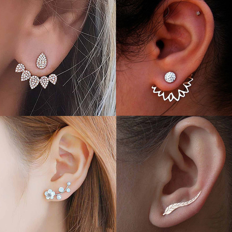 2019 New Crystal Flower Drop Earrings For Women Fashion Jewelry Gold Silver ColorRhinestones Earrings Gift For Party Best Friend