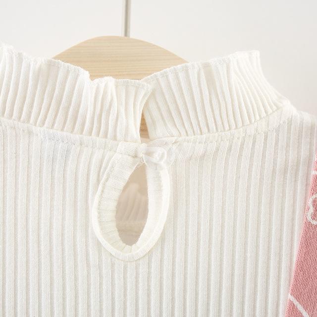 Girls' Cute Lycra Dress with Round Collar