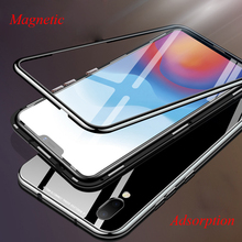 Magnetic Adsorption Case For VIVO X21 Cases Tempered Glass Back Cover High-end PC Bumper +Glass Film