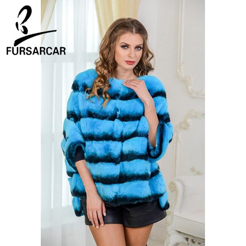FURSARCAR 2018 Bleu Couleur Femmes Réel Rex De Fourrure De Lapin Manteau De Mode Nouvelle De Fourrure De Lapin Cape De Luxe D'hiver De Fourrure Veste châle