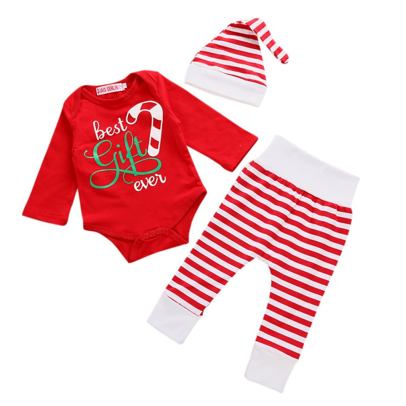 Baby Boy Girl Suits Infants Cotton Printing Tops + Striped Pants + Hat Three Sets Newborn Boy Girl Clothes Hot Sale
