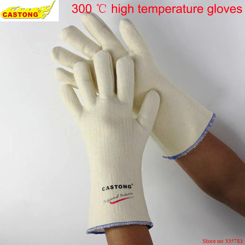 300 degrees heat insulation gloves High temperature resistant gloves to hot flame retardant anti-scald fire Aramid fiber woven outdoor research silencer fire resistant gloves
