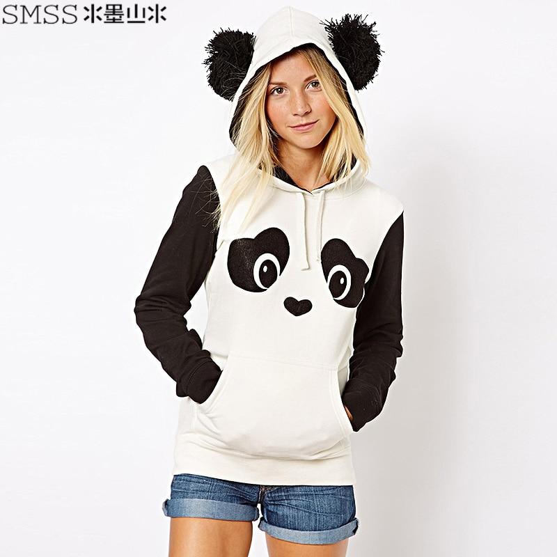 2015 new spring Fashion 3D Tracksuit Women Thick Fleece Cute Suit Panda Printed Sweatshirt Hooded Hoodies sudaderas mujer