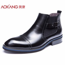 Aokang Winter men's boots genuine leather male shoes fashion black shoes ankel boots top quality shoes for men