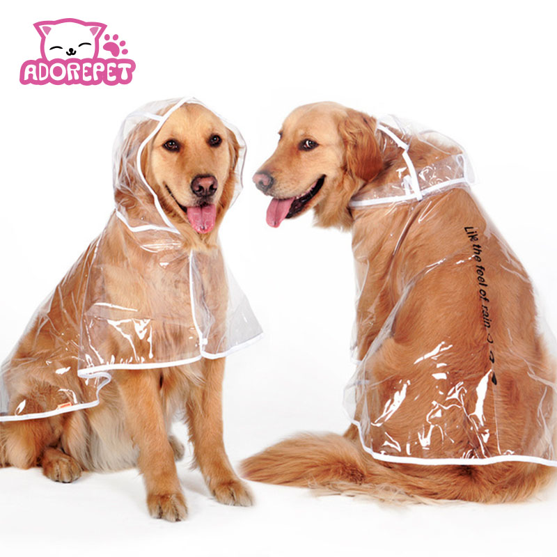 e5da22c73 Transparente Grande Grande Cat Dog Pet capa de Chuva Capa De Chuva Casaco  Roupa Do Cão Golden Retriever Cachorro Rainsuit À Prova D' Água Roupas em  Casacos ...