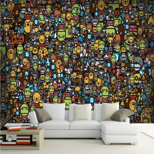 Tapete 3d Kinder Bunte Cartoon Graffiti Tapete KTV Bar Wohnzimmer Dekoration  Hintergrund Wandbild