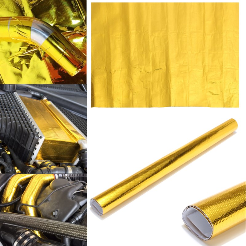 50x50cm Reflective Gold High Temperature Fiberglass Heat Shield Wrap Tape Roll Barrier For Thermal Racing Engine Car Styling
