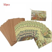 50Pcs Lot Vintage Wedding Candy Box Kraft Paper World Map Gift Bag For Wedding Favors And