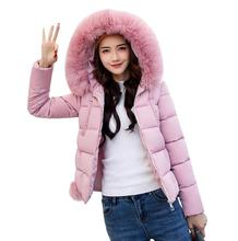 Female Warm Winter Jacket 2017 Fashion Women Hooded Fur Collar Down Cotton Coat Solid Color Slim padded Coat a515