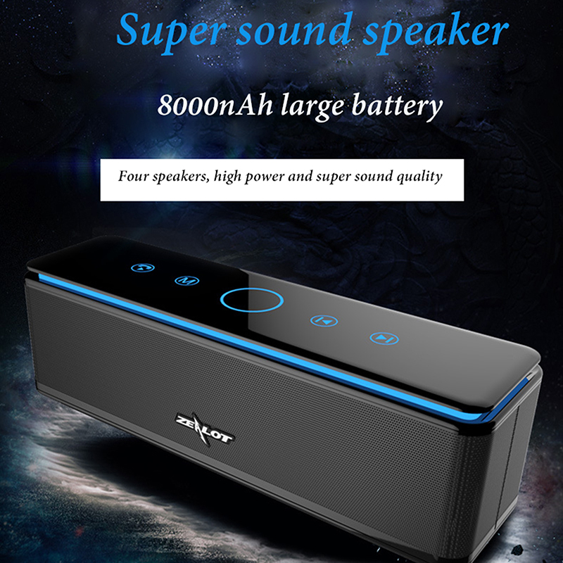 8000mAh big battery Touch button HIFI Portable Bluetooth Mini Wireless Super Bass Speaker Subwoofer Stereo Soundbar with Mic USB gaming arduino joystick shield expansion board black multicolored