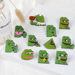 Эмалированные заколки Pepe the Frog Meme с героями мультфильмов, пирамида для стрельбы, мышление, питье, 11 видов стилей, брошь в виде животных, подар...