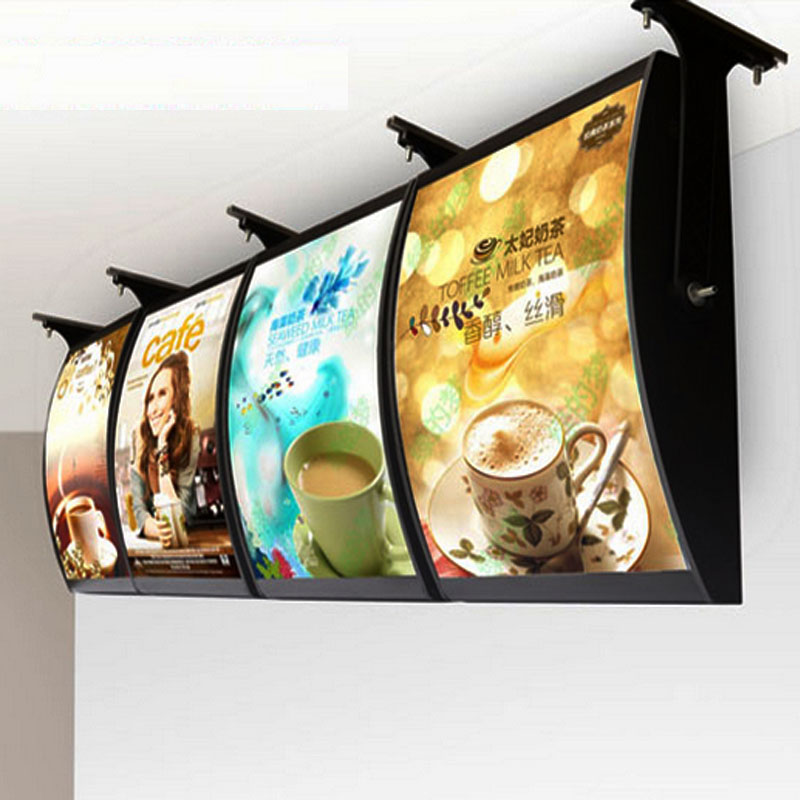 (4 Graphics/column) Ceiling Hanging Menu Curved Light Boxes & Menu Display Signs for Res ...