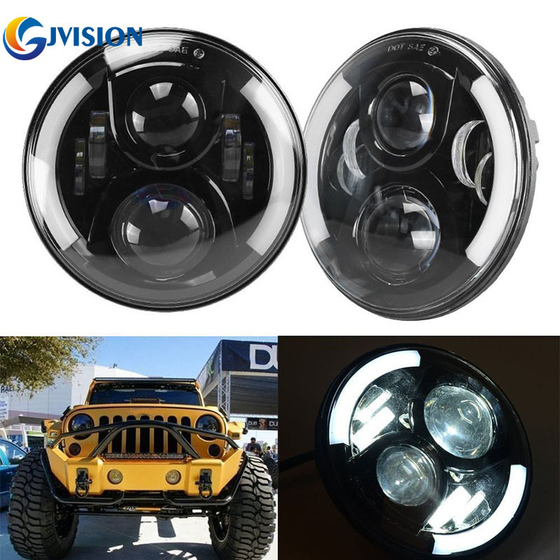 7 INCH Round 50W H4 Headlight 12V Waterproof headlamp with Halo DRL Turn signal for Jeep Wrangler JK TJ Hummer LED Driving Light 7 inch 60w led headlight drl white turn singal hi lo beam headlamp bulb fit jeep wrangler jk tj sahara unlimited hummer h1 h2
