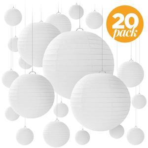 20 sztuk/zestaw biały chiński papier Lampion latarnie różnych rozmiarów okrągły ślub przysługę na urodziny i bociankowe strona wisząca dekoracja