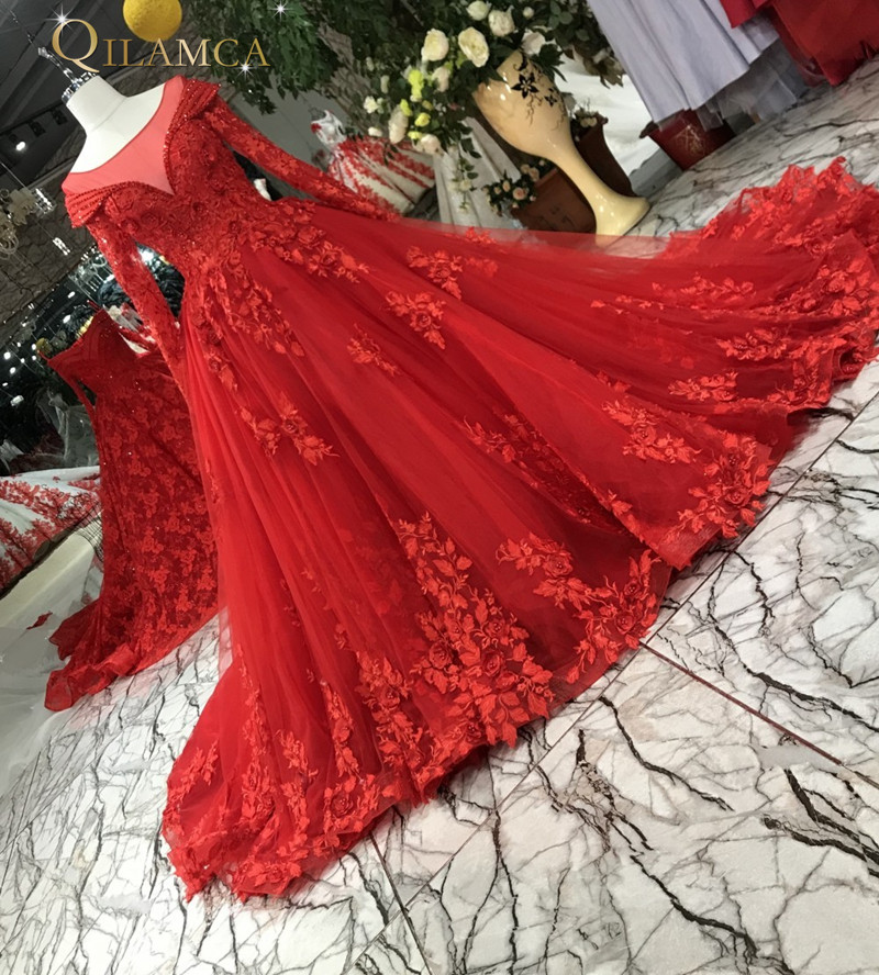 Vintage font b Red b font Appliques Lace Ball Gown Long Sleeves Quinceanera font b Dresses
