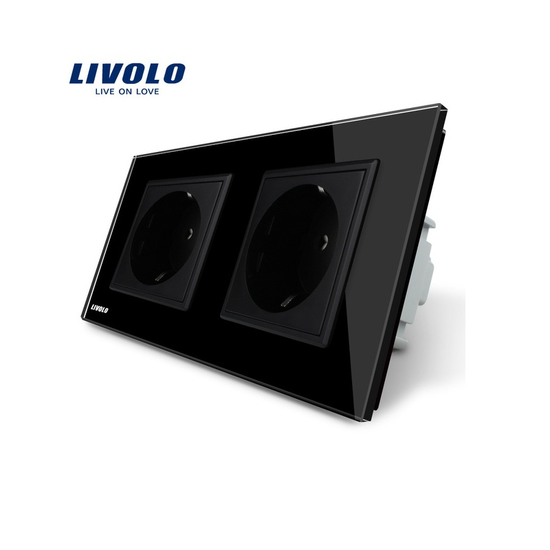 Manufacturer, Livolo EU Standard Wall Power Socket, Black Crystal Glass Panel, AC110~250V 16A Wall Outlet VL-C7C2EU-12