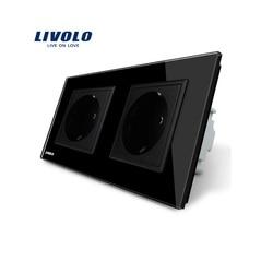Manufacturer, Livolo EU Standard Wall Power Socket, Black Crystal Glass Panel, AC110~250V 16A Wall Outlet VL-C7C2EU-12