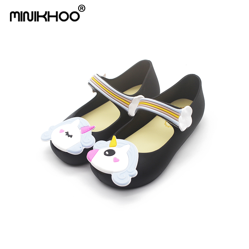Mini Melissa Original 3Color Unicorn Lovely Girl Jelly Sandals 2018 Summer New Baby Shoes Melissa Sandals Girls Princess Shoes