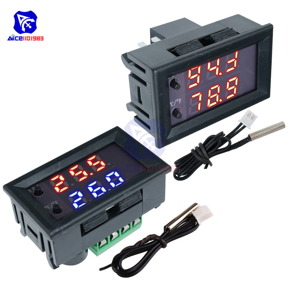 W1209WK 12V 220V LED Digit Thermostat Temperature Controller Thermometer Celsius/Fahrenheit Switch Module with NTC Sensor Probe 3