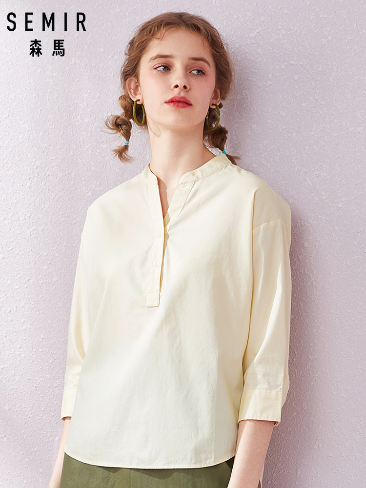 SEMIR Women Soft Cotton Shirt With Half-length Sleeves Women's Turn-down Collar Shirt Blouse Top With Tapered Waist For Spring